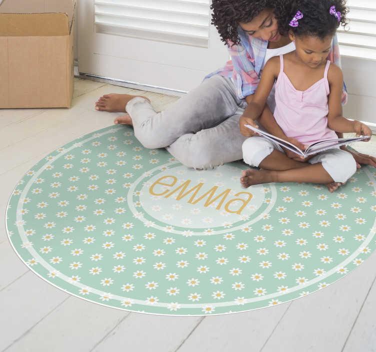 tenstickers round daisies vinyl rug