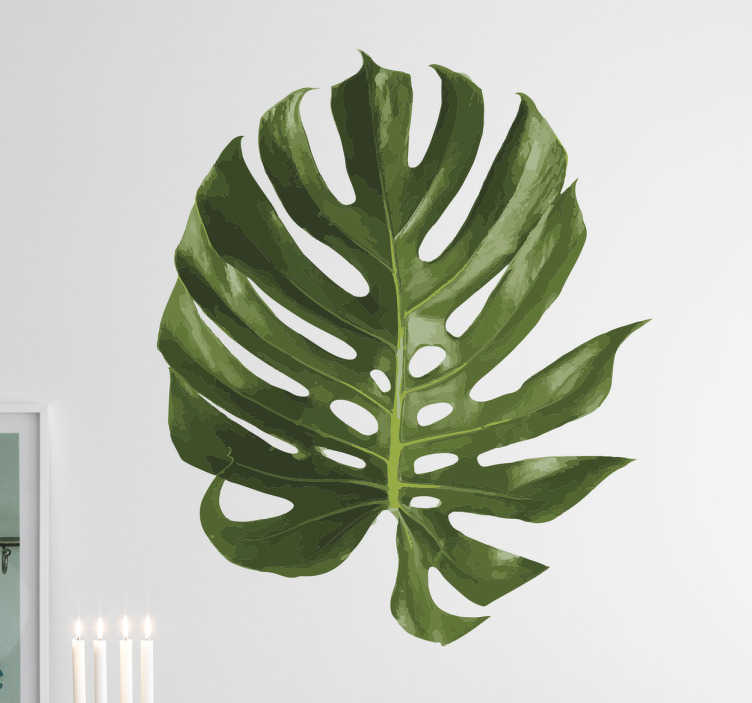botanical decor - tenstickers swiss cheese plant wall sticker