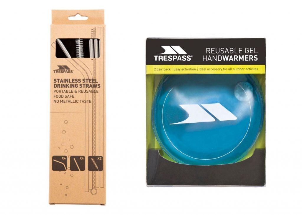 trespass reusable drinking straws and gel handwarmers