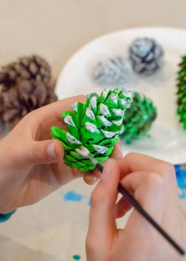 handmade christmas decorations - painted pine cones