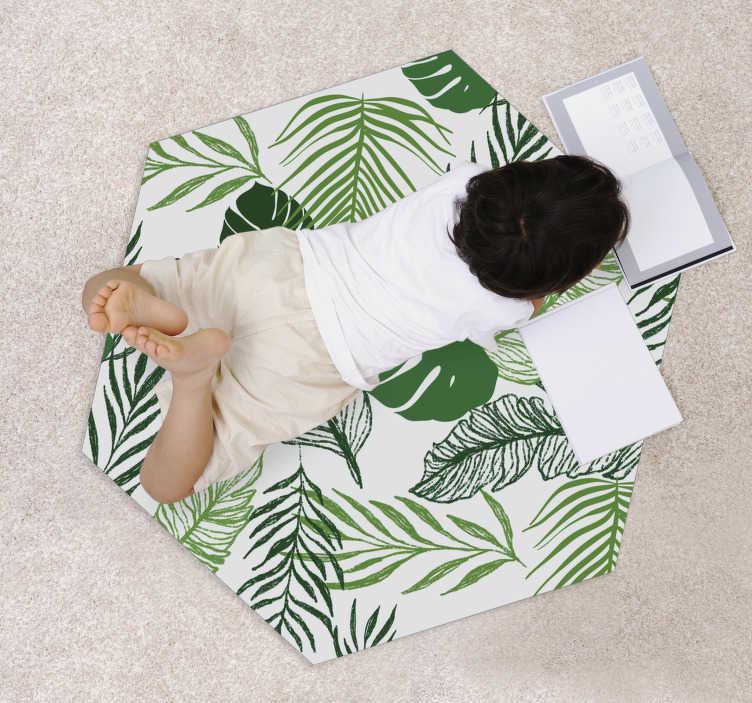 tenstickers fine leaf vinyl rug