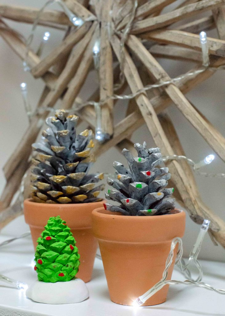 Handmade christmas decorations - pine cone christmas trees