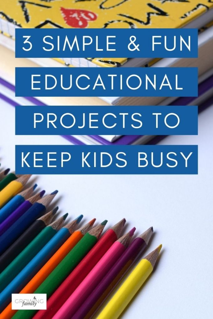 These simple and fun educational projects are great for keeping kids busy, and use materials that you probably already have at home.