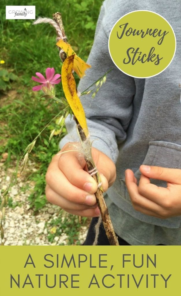 Nature crafts for kids: how to make a journey stick on a nature walk. A fun nature activity to help children learn about nature and their environment.
