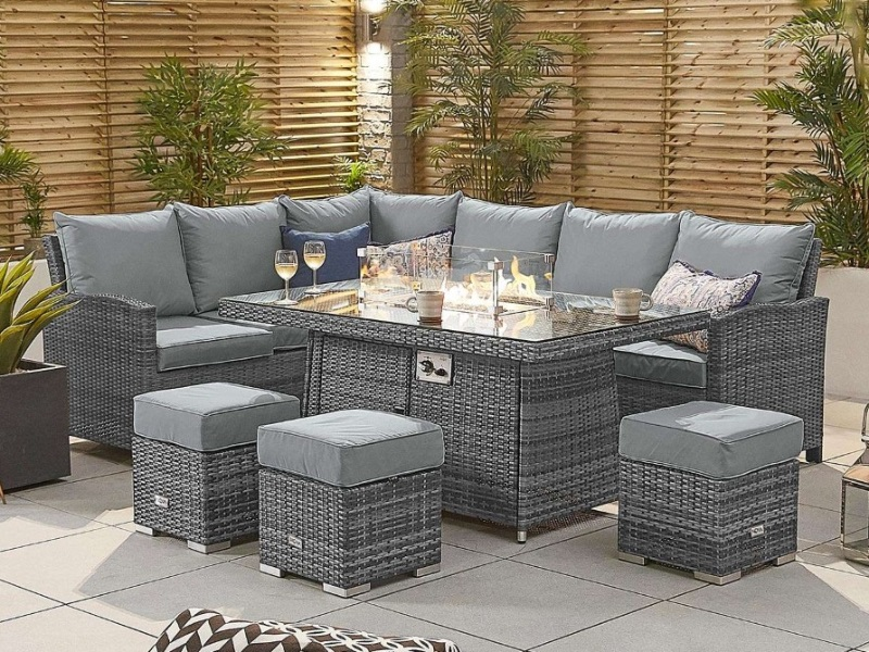 cambridge corner dining set with fire pit table outdoor furniture