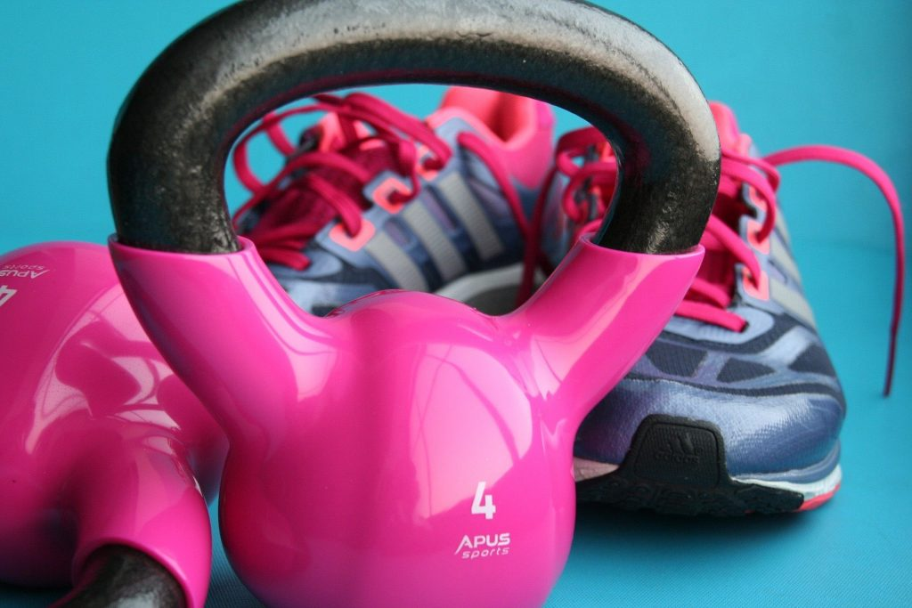 kettlebells and gym trainers