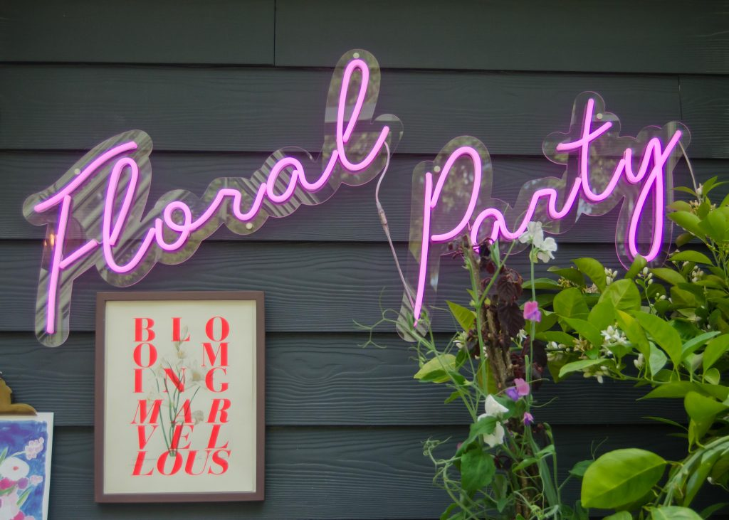 floral party neon sign