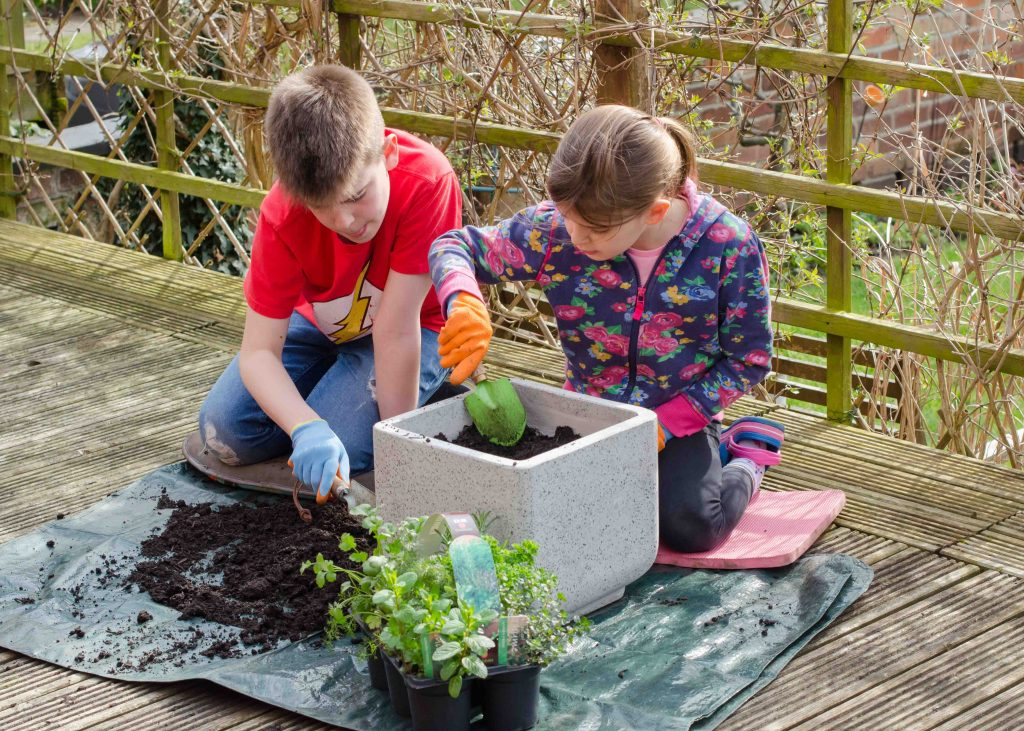 stay at home activities - gardening with children