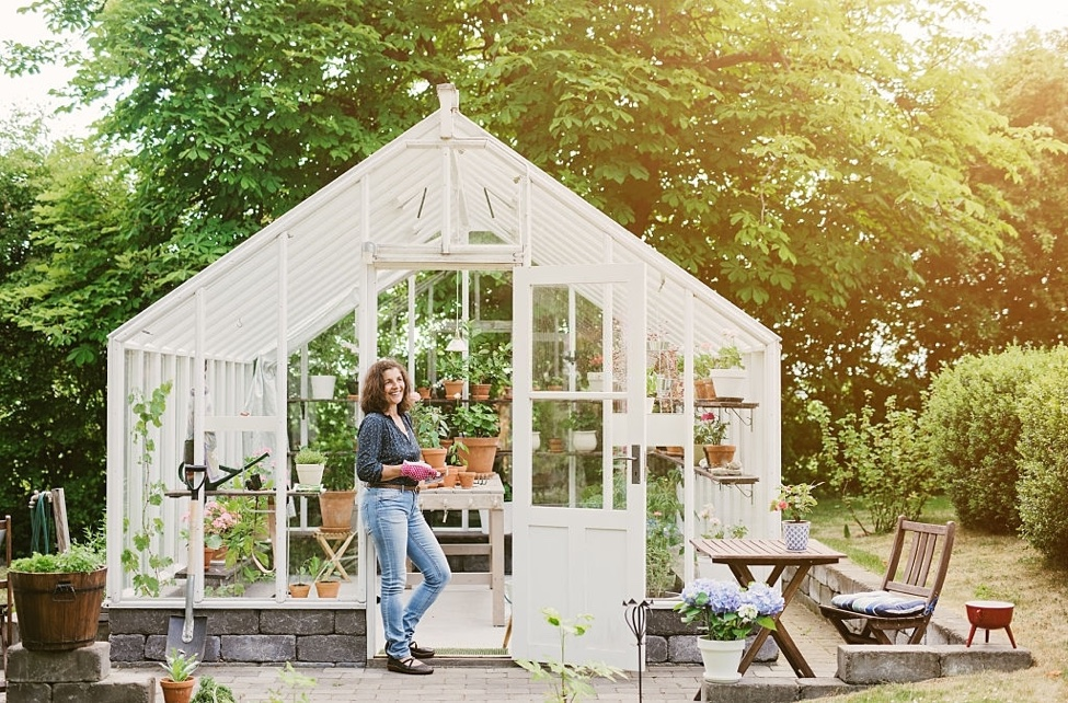white painted greenhouse