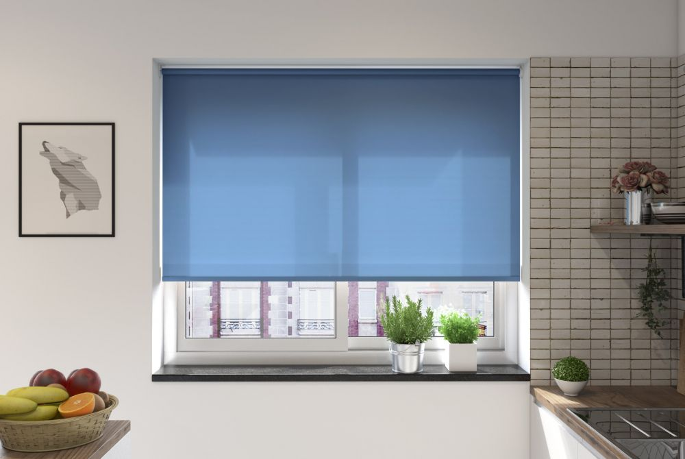 different types of blinds - roller blinds in a kitchen