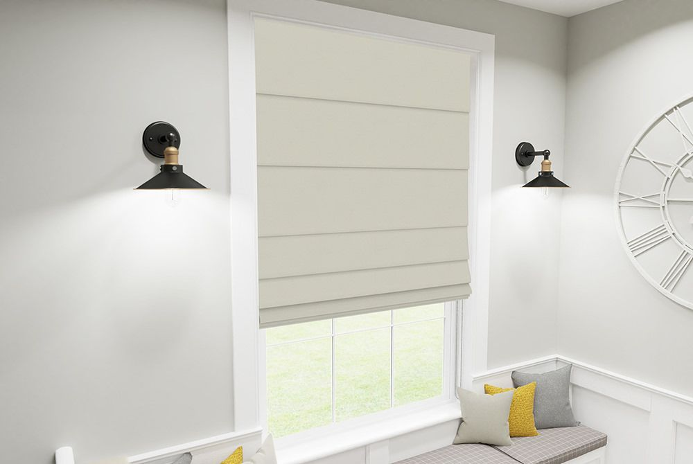different types of blinds - roman blinds in a living area