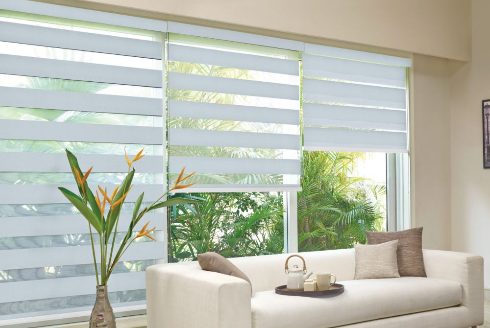 striped day and night blinds in a living room