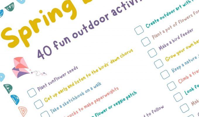 Outdoor activities for kids: free printable spring bucket list