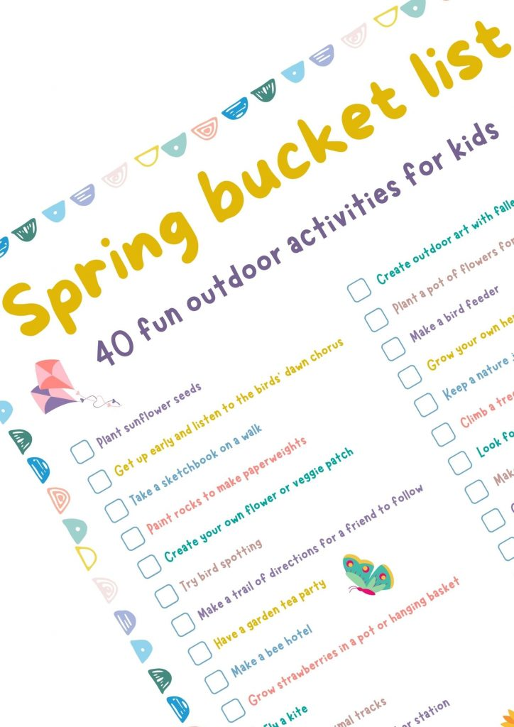 outdoor activities for kids - closeup of free printable spring bucket list for kids