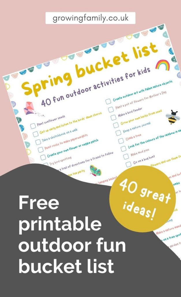Free printable spring bucket list of 40 fun outdoor activities for kids. Simple ideas to keep kids active and entertained outside!