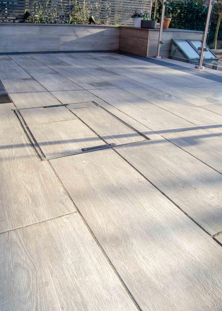 grey plank paved patio