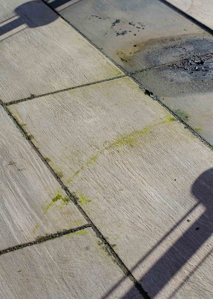 patio covered in dirt and algae