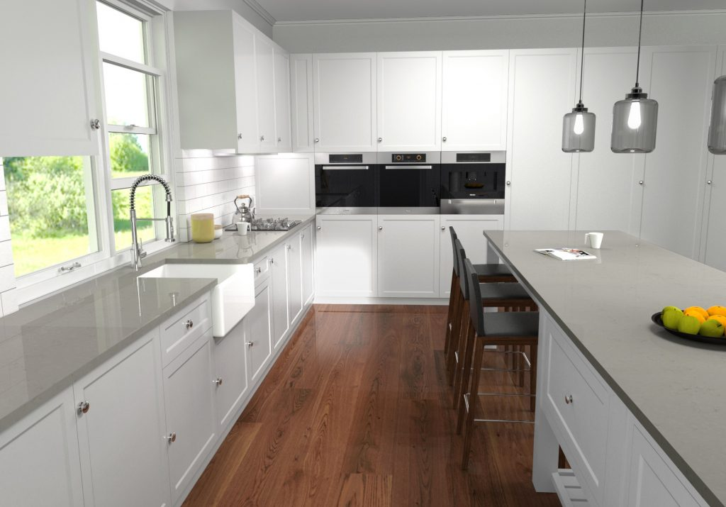 kitchen fitted with white units