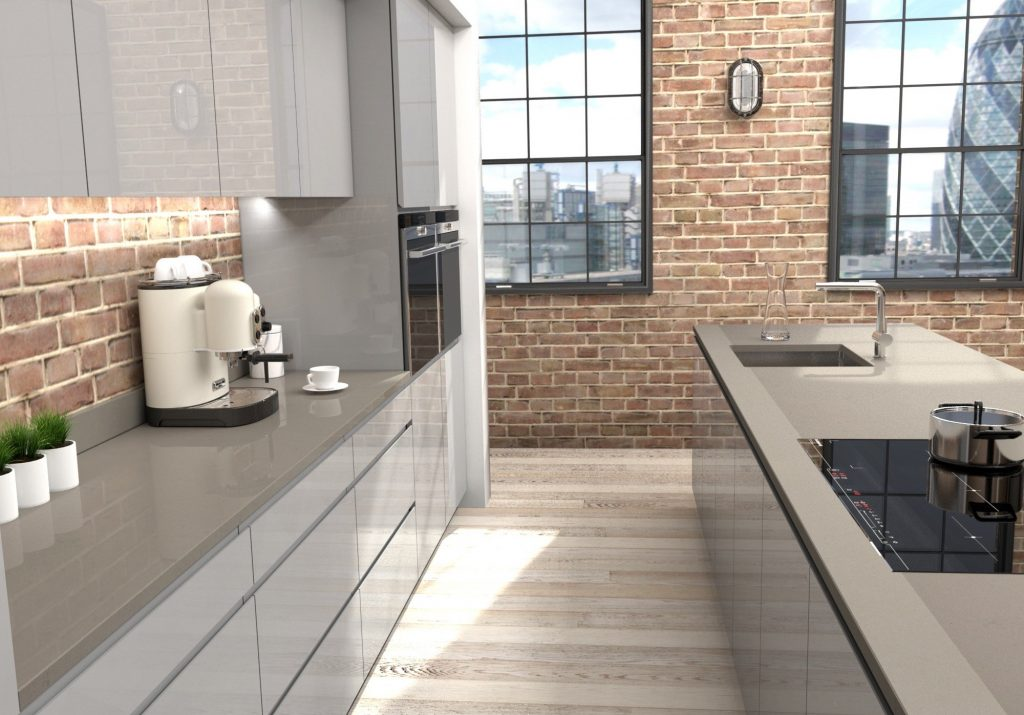 modern fitted kitchen in grey tones