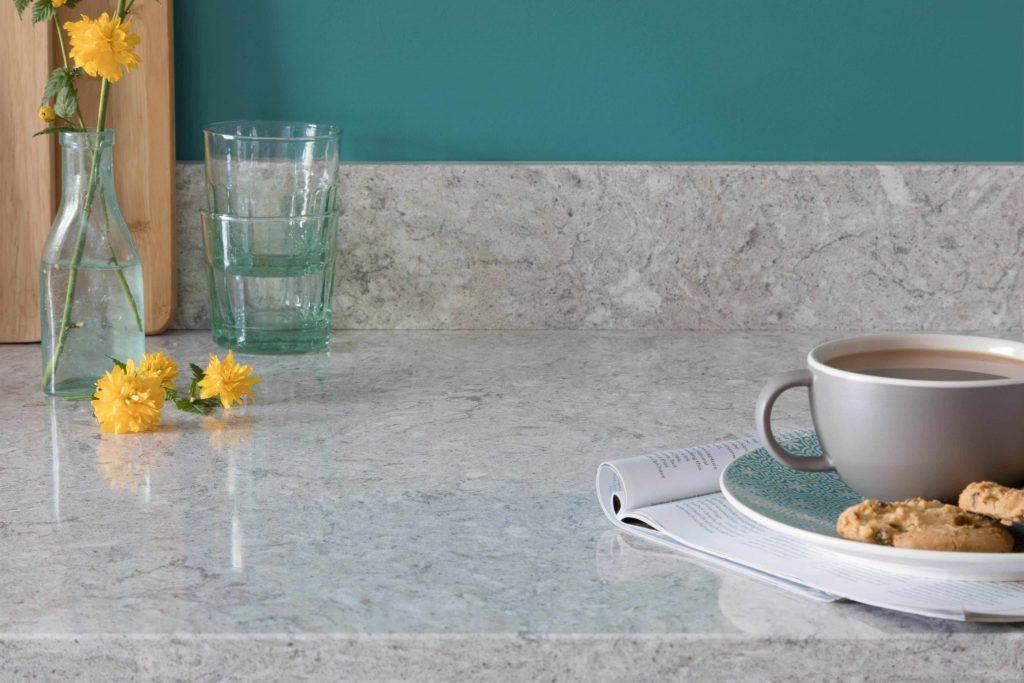 closeup of marble effect quartz worktop in a kitchen
