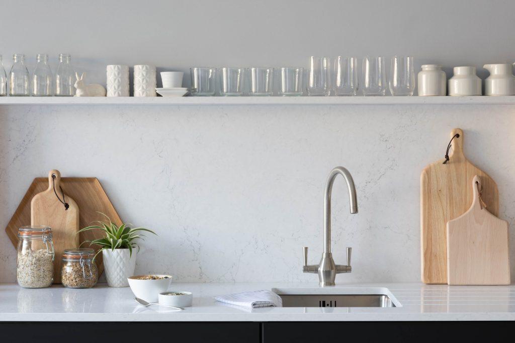 quartz worktops in a kitchen