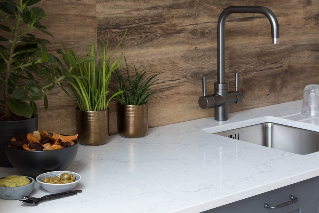 quartz worktop in a kitchen