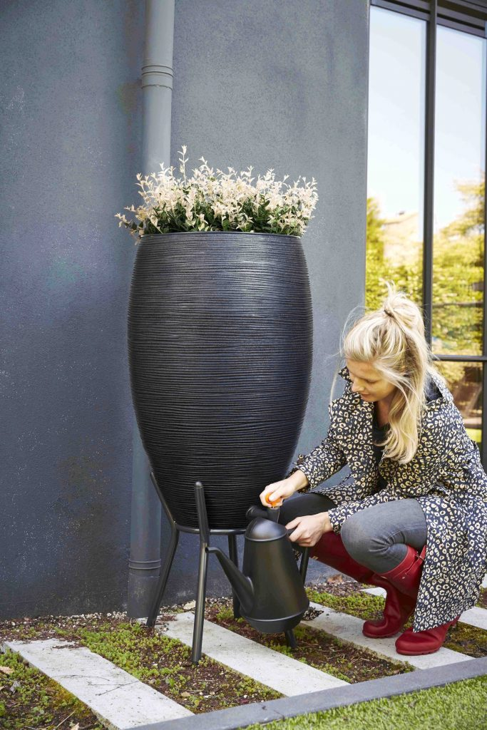 organic gardening catalogue rain barrel water butt black