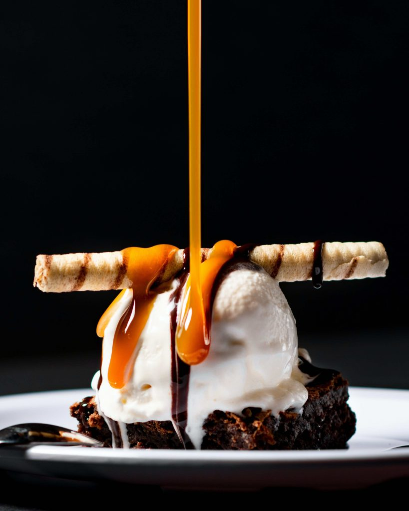 chocolate brownie and ice cream sweet tooth dessert
