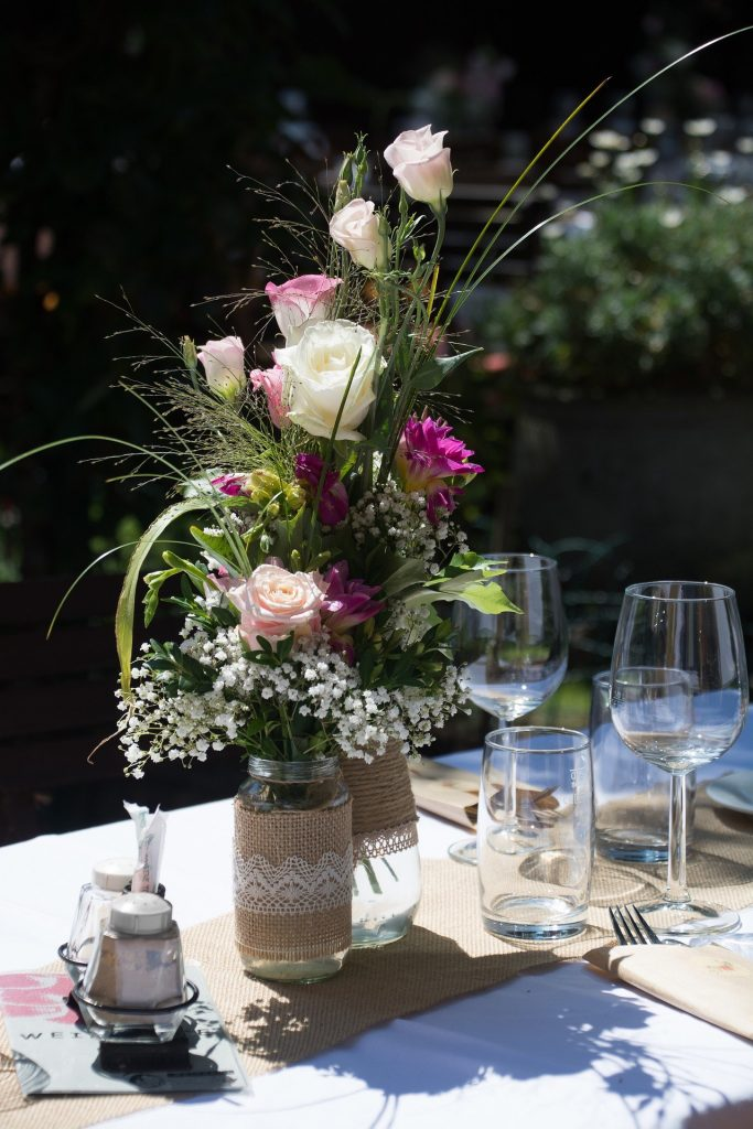 garden dining table with flowers
