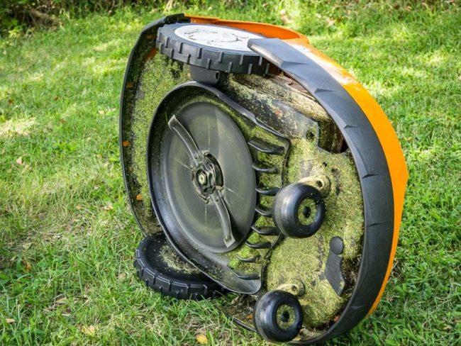 underneath of robot lawn mower