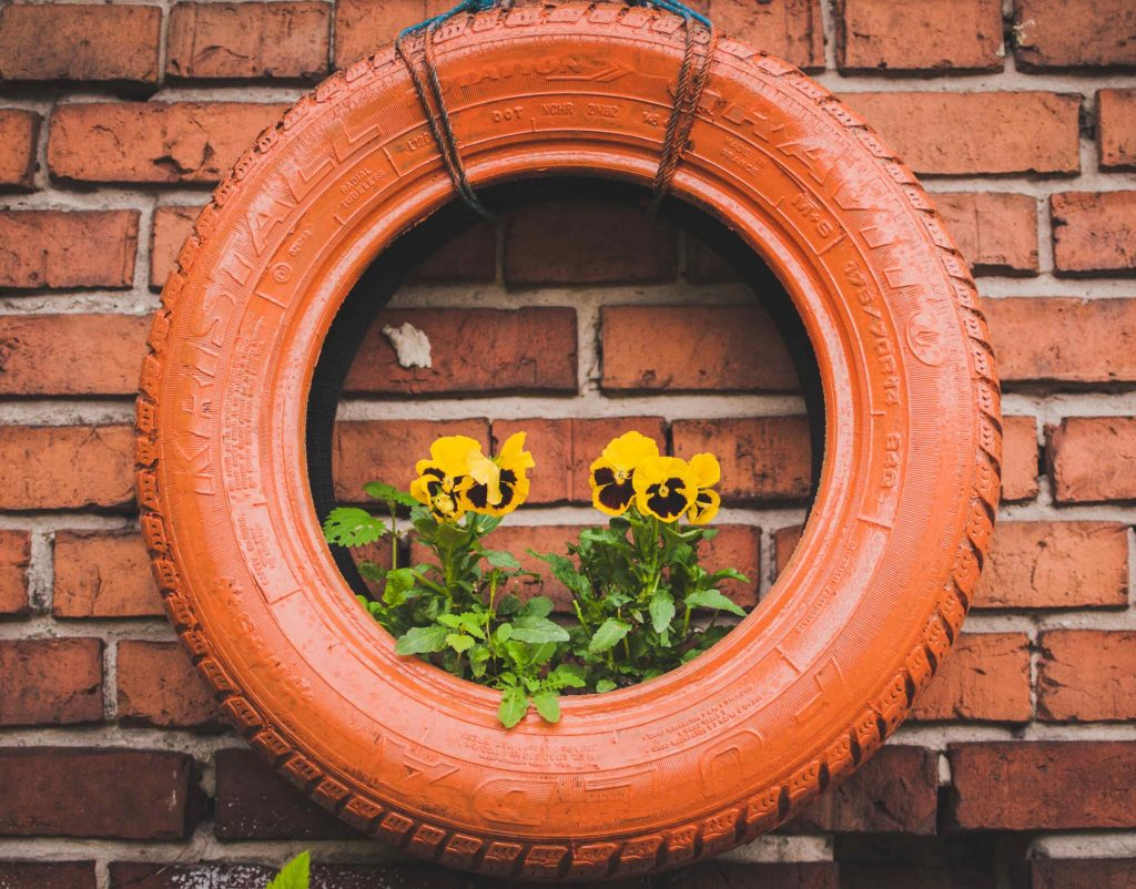 gardening on a budget - upcycled car tire planter