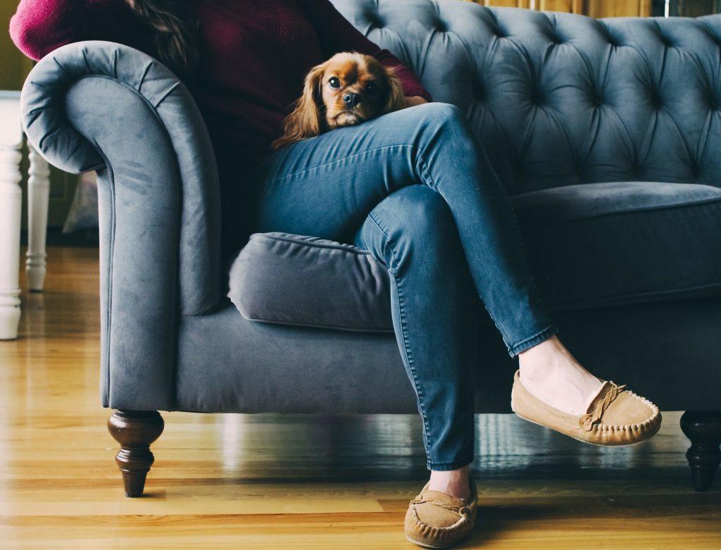 woman sitting on sofa with dog