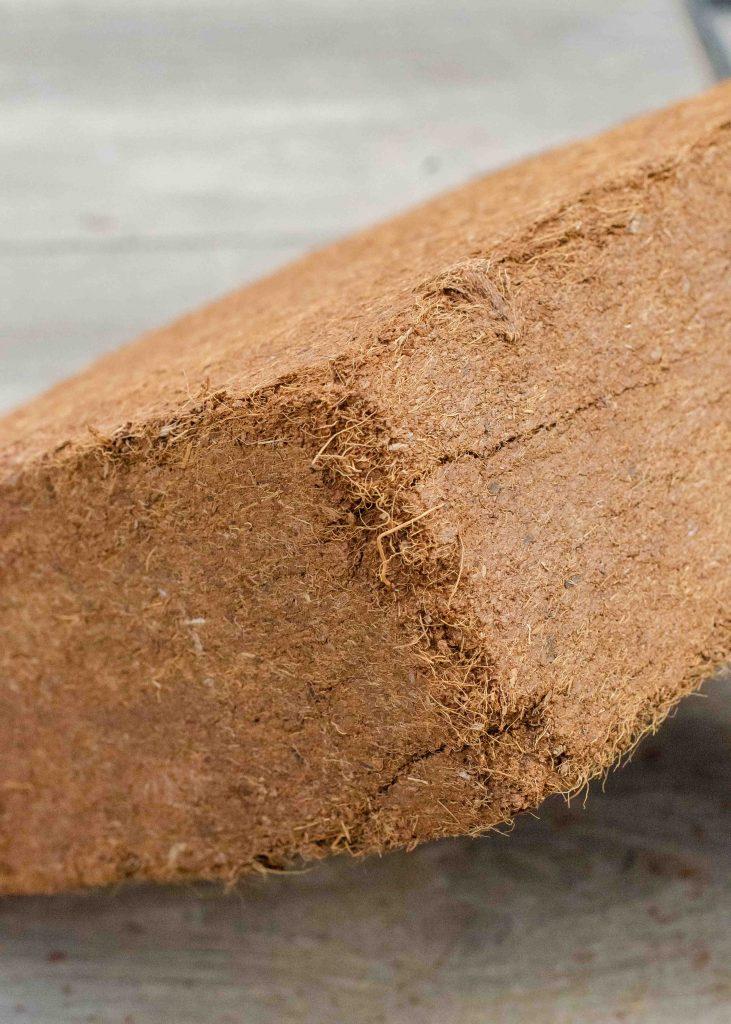 closeup of coco coir brick