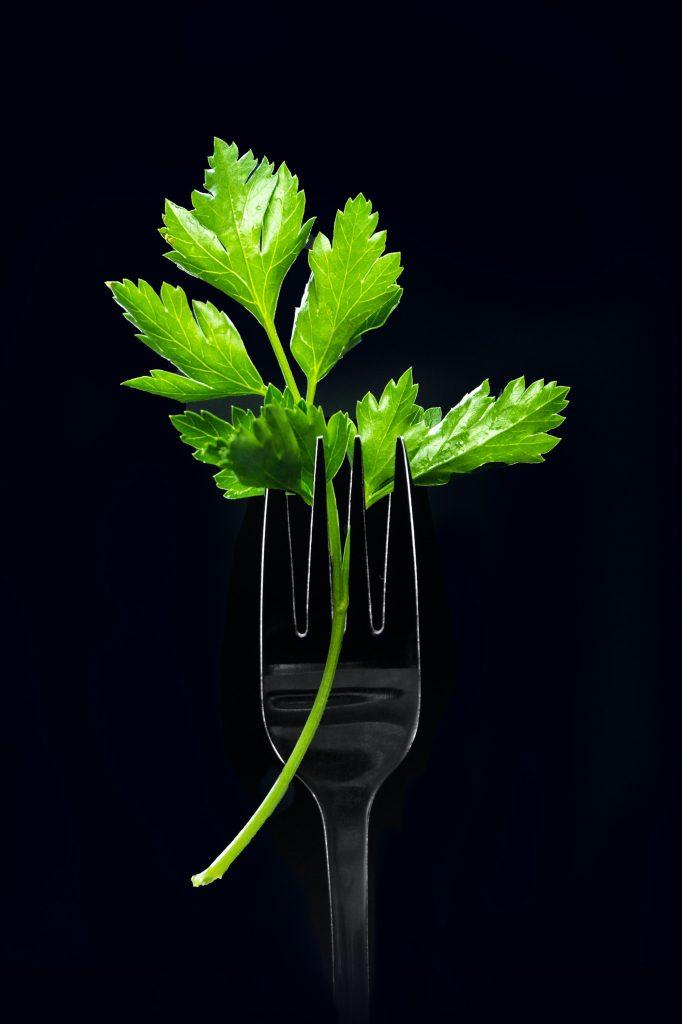 parsley leaf on a fork