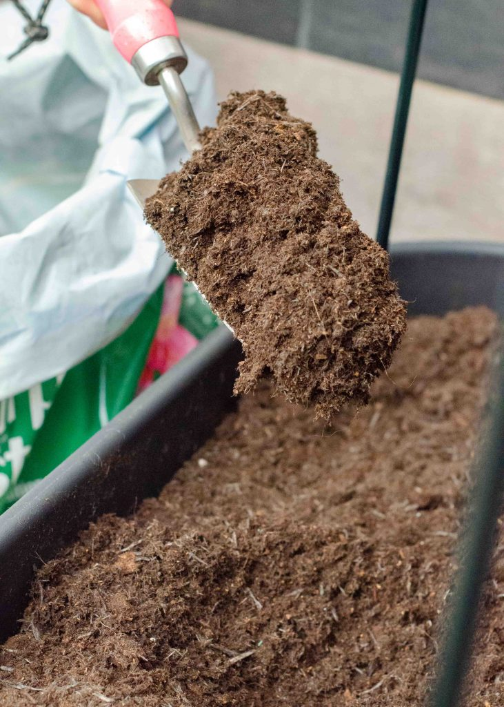 hand trowel full of compost