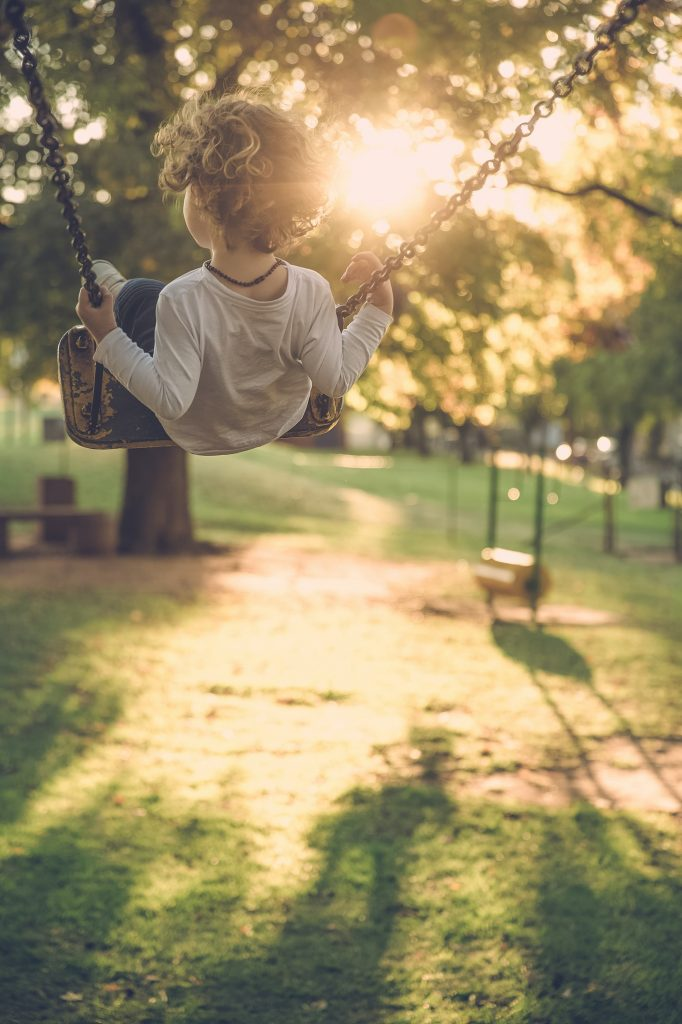 kids outdoor activities for summer - child playing on a swing in the park
