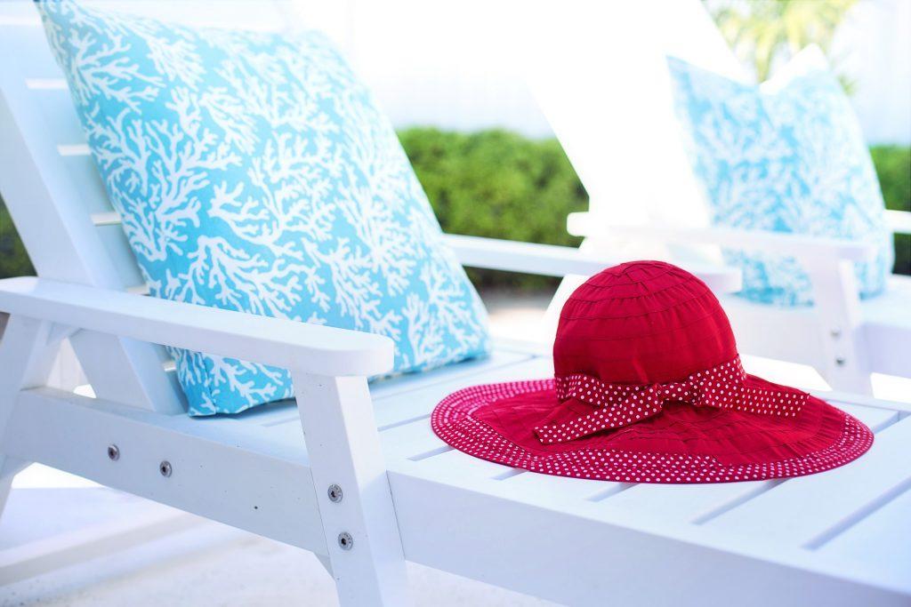 white wooden deck chair