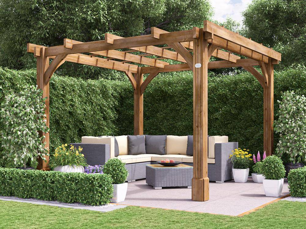 outdoor garden seating area with wooden gazebo