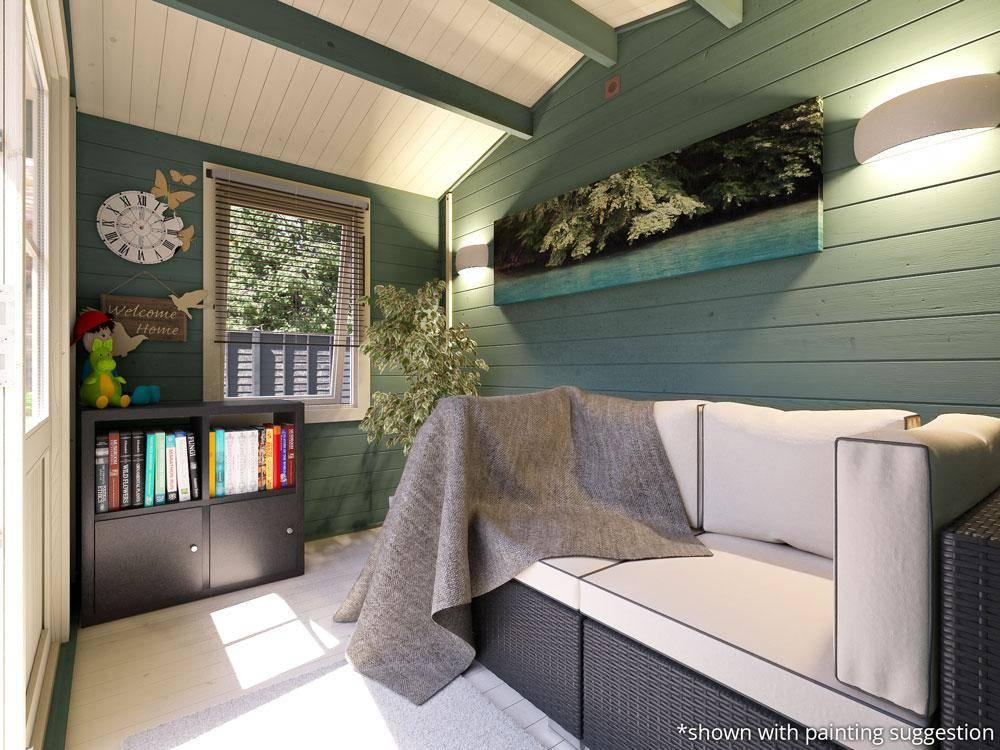 interior of a garden log cabin