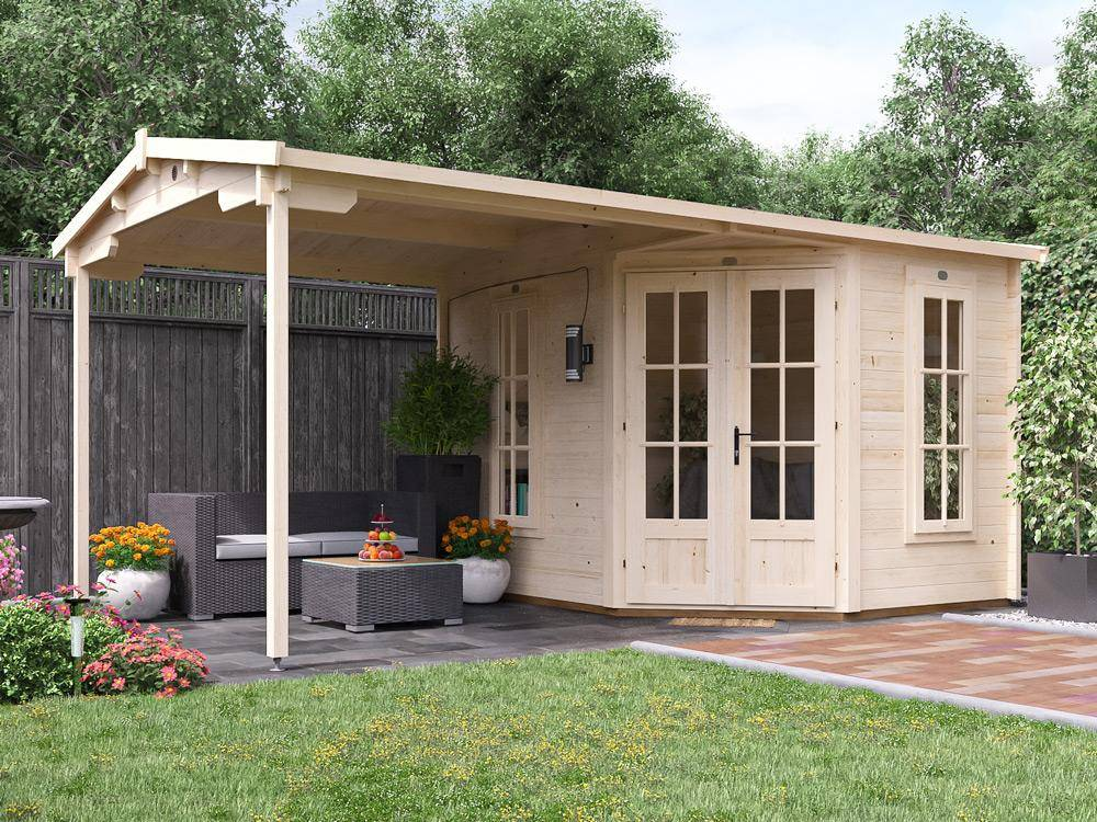garden building with covered seating area
