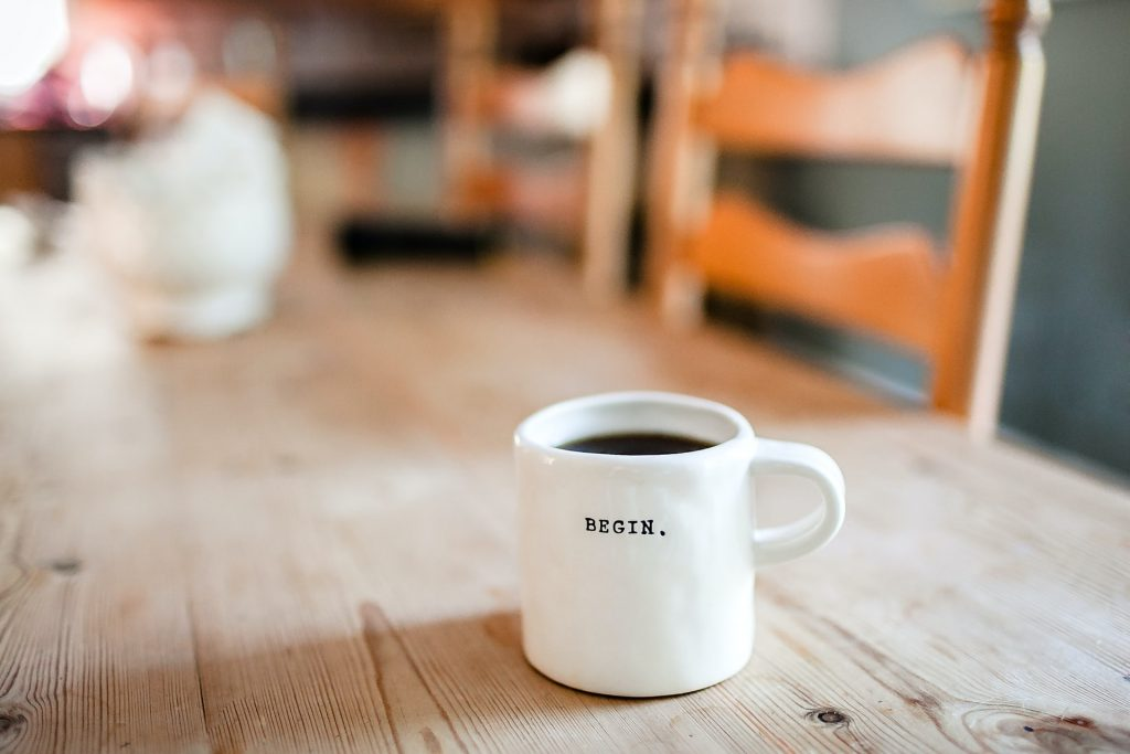 coffee cup on pine table
