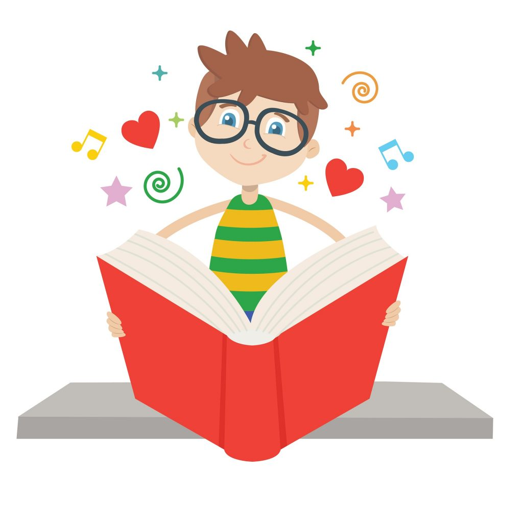 clipart of child reading a book