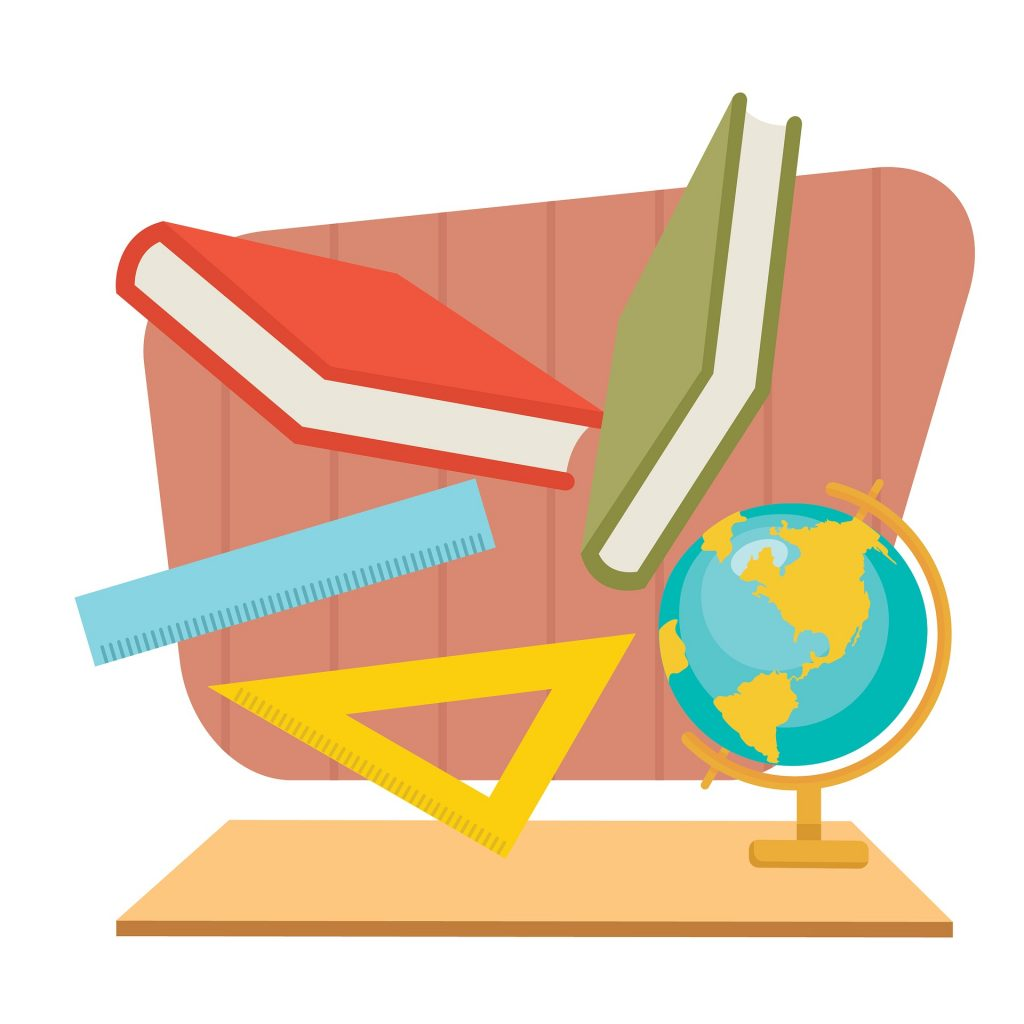 graphic of books, ruler and globe