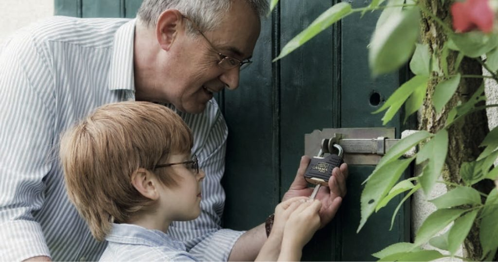 child and grandparent locking shed