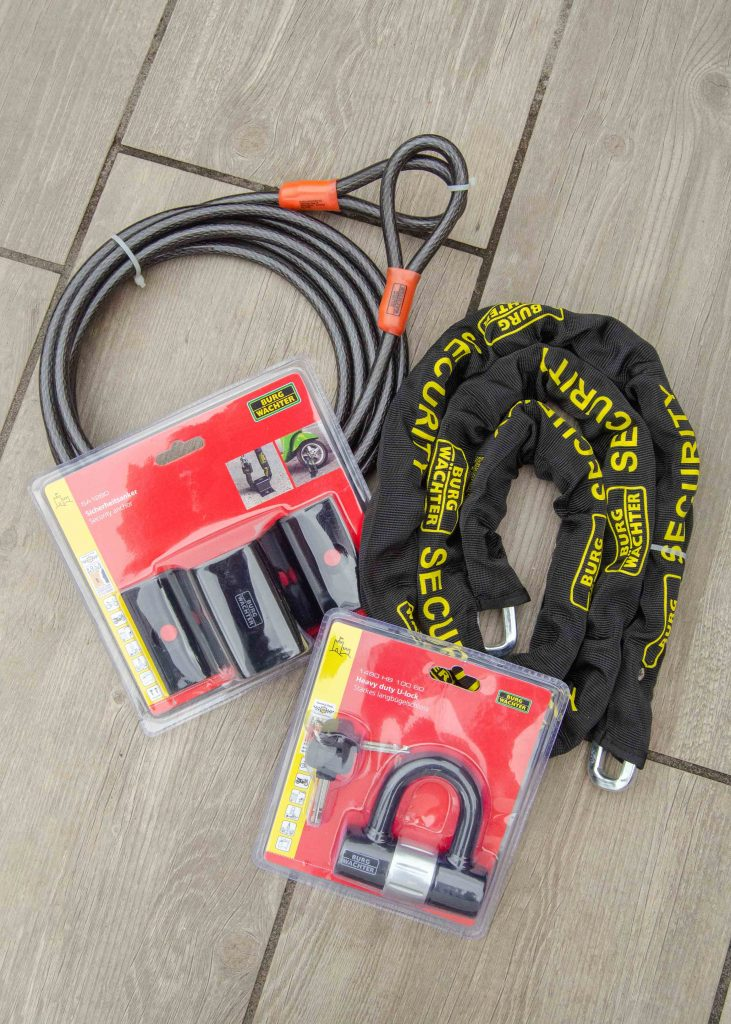burgwachter heavy duty chain, u-lock, ground anchor and double loop security cable