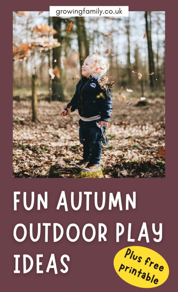 Simple activities for kids outdoors in autumn - includes free printable autumn bucket list of 40 fun kids outdoor activities.