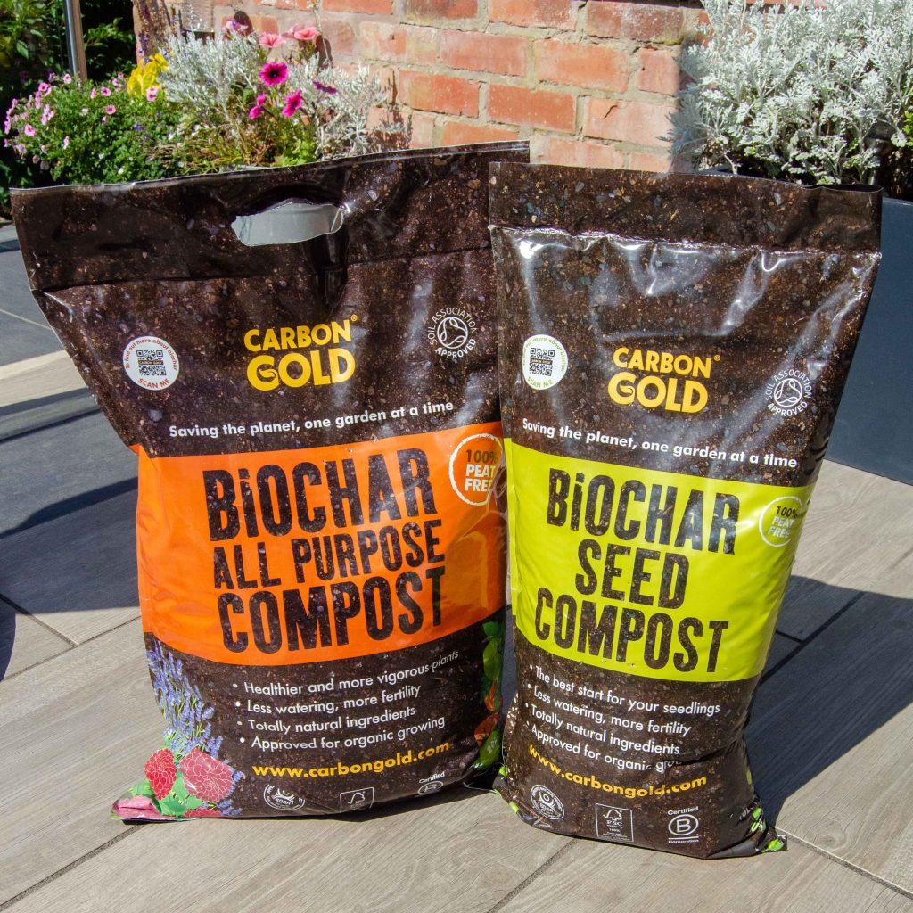 carbon gold biochar compost bags