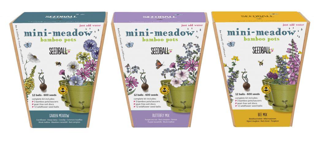 seedball mini meadow bamboo pots range shot