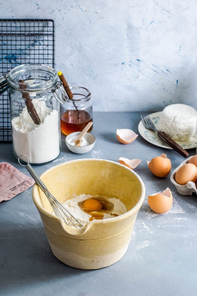 baking ingredients and mixing bowl