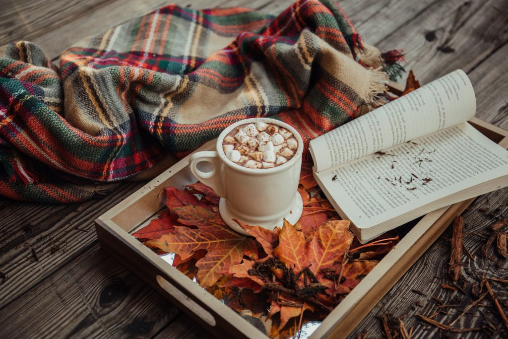 cosy home - hot chocolate with tartan throw, book and autumn leaves